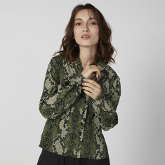 Animal Printed Shirt with Long Sleeves and Notched Lapel