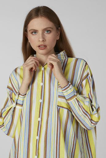 Striped Shirt with Long Sleeves and High Low Hem