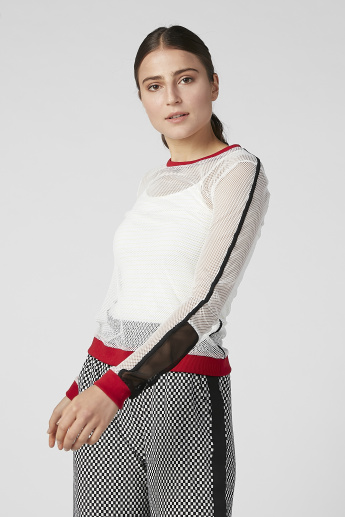 Textured Top with Round Neck and Long Sleeves