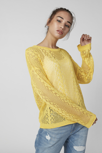 Textured Jumper with Round Neck and Drop Shoulder Sleeves