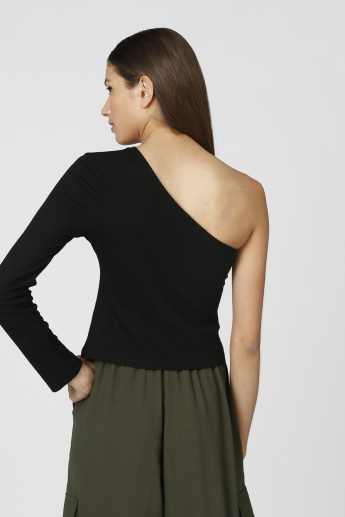 Skinny Fit Plain One Shoulder Sleeve Top
