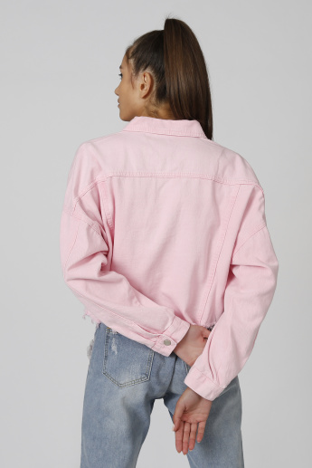 Plain Denim Jacket with Long Sleeves and Flap Pockets