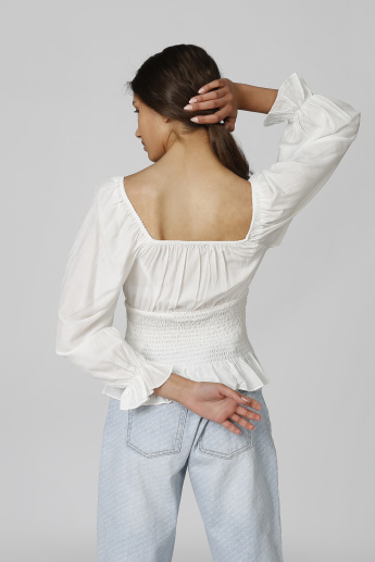 Textured Top with Flounce Sleeves and Smocking Detail