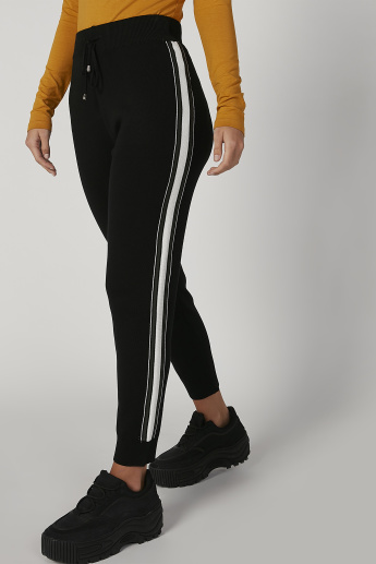 Full Length Flexi Waist Jog Pants with Tape Detail and Drawstring
