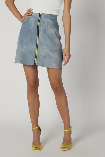 Plain Mini A-line Denim Skirt with Pocket Detail and Zip Closure