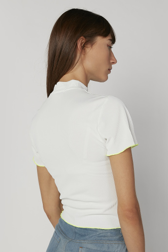Skinny Fit High-Neck Textured Blouse with Short Sleeves