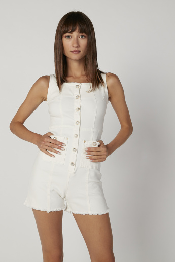 Pearl Detail Sleeveless Playsuit with Pocket Detail