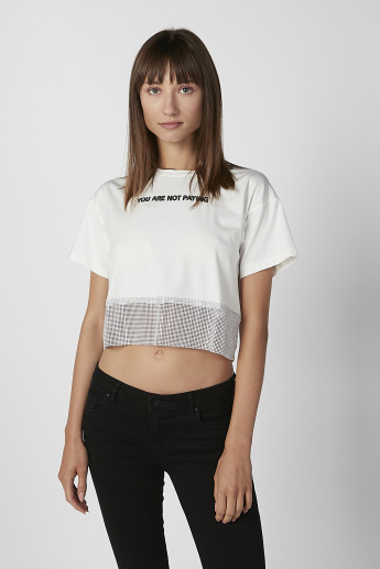 Printed Crop Top with Round Neck and Short Sleeves