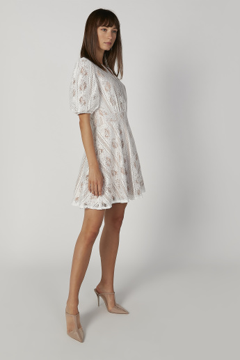 Lace Mini Skater Dress with V-neck and Short Sleeves