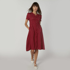 Polka Dot Printed Midi A-line Dress with V-neck and Short Sleeves