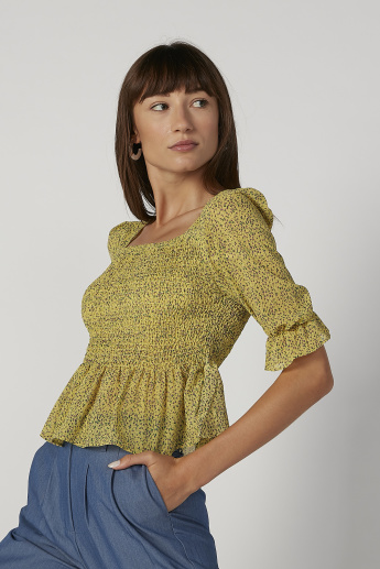 Skinny Fit Printed Crop Top with Square Neck and Flounce Sleeves