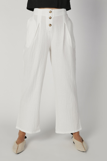 Full Length Textured Mid Waist Pants with Pocket Detail