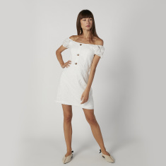 Schiffli Off Shoulder Mini Dress with Short Sleeves and Button Detail