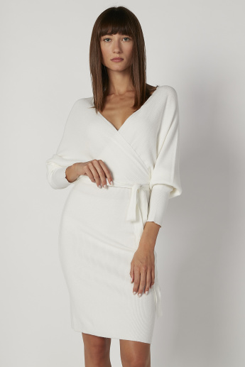 Textured Midi Bodycon Dress with Long Sleeves and Tie Ups