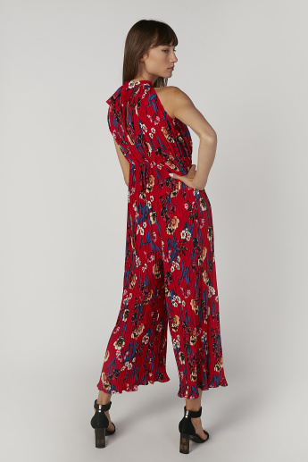 Printed Sleeveless Jumpsuit with Tie Ups