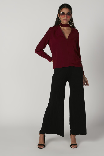 Plain Top with High Neck and Long Sleeves