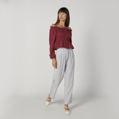 Full Length Plain Pants with D-Ring Belt and Pocket Detail