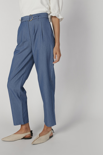 Full Length Plain High Waist Pants with D-Ring Belt and Pocket Detail