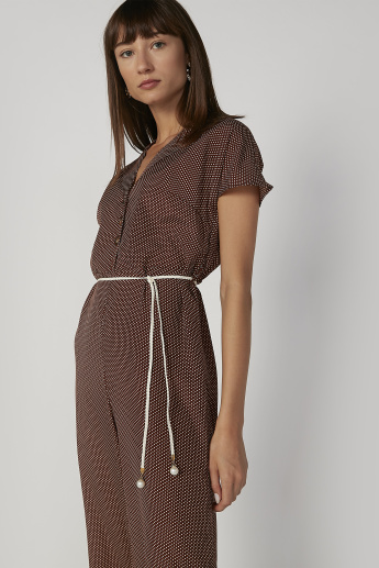 Printed Jumpsuit with Short Sleeves and Tie Ups