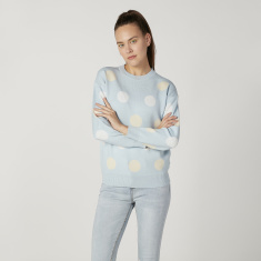 Polka Dot Printed Sweater with Round Neck and Long Sleeves