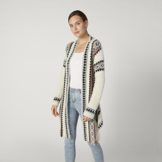 Wide Fit Printed Longline Cardigan with Long Sleeves