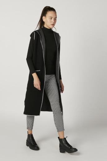 Plain Longline Cardigan  with Long Sleeves and Hood