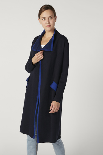 Plain Longline Cardigan with Long Sleeves