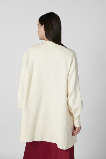 Textured Cardigan with Long Sleeves and Flap Pockets