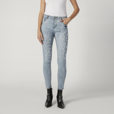 Skinny Fit Full Length Distressed Jeans with Pocket and Pearl Detail