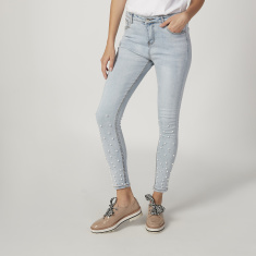 Full Length Embellished Jeans with Pocket and Pearl Detail