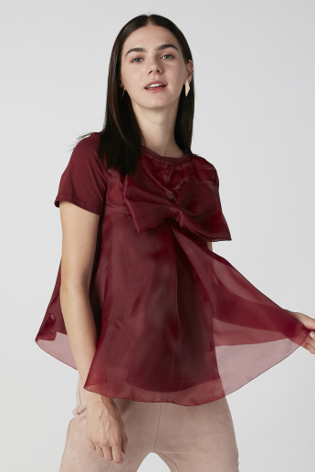Plain Top with Round Neck and Bow Applique Detail