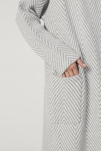 Textured Longline Cardigan with Long Sleeves and Pocket Detail