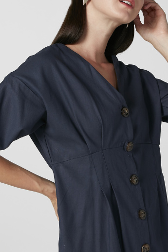 Plain Midi Shirt Dress with Short Sleeves