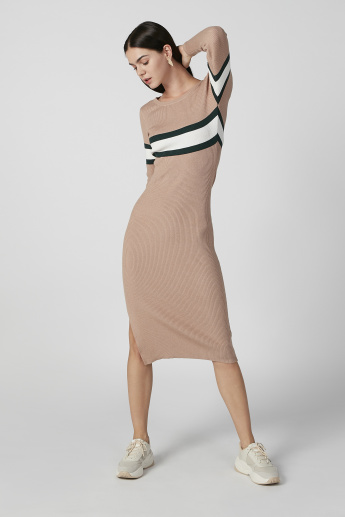 Striped Midi Bodycon Dress with Long Sleeves and Side Slit