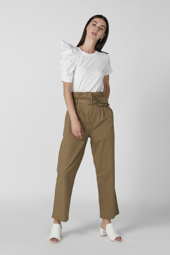Full Length Plain Trousers with Paper Bag Waist and Pocket Detail
