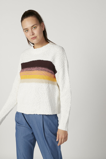 Textured Sweater with Long Sleeves and Stripe Detail