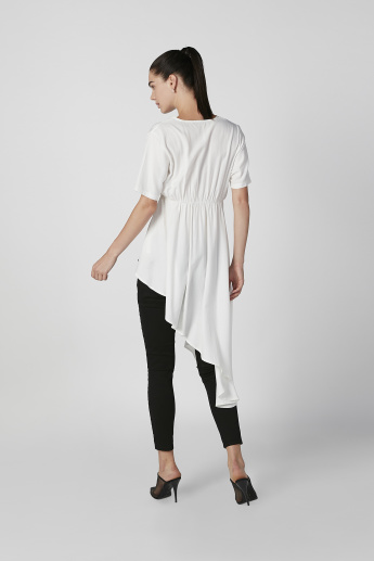 Plain Asymmetric Top with V-neck and Short Sleeves