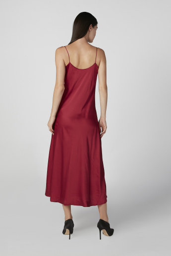 Plain Midi A-line Sleeveless Dress with Cowl Neck