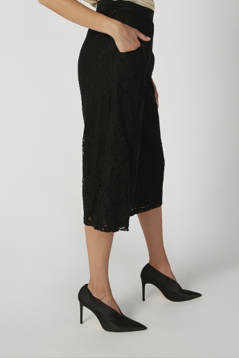 Lace Detail Mid Waist Culottes with Elasticised Waistband and Pockets