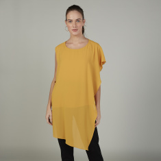 Plain Top with Boat Neck and Frill Detail