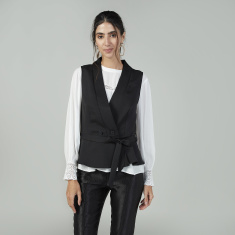 Slim Fit Plain Peplum Sleeveless Jacket with V-neck
