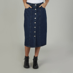 Plain Denim Mid Wasit Midi Skirt with Pocket Detail and Belt Loops