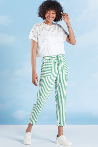 Striped Cropped Trosuers with Pocket Detail and Drawstring