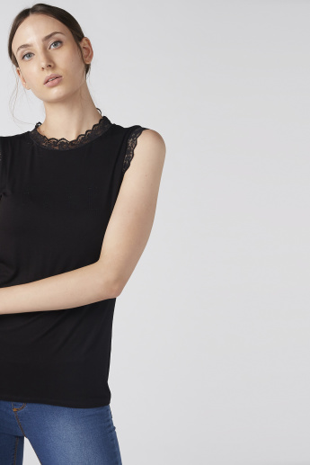 Elle Embellished Sleeveless Top with Round Neck and Lace Detail