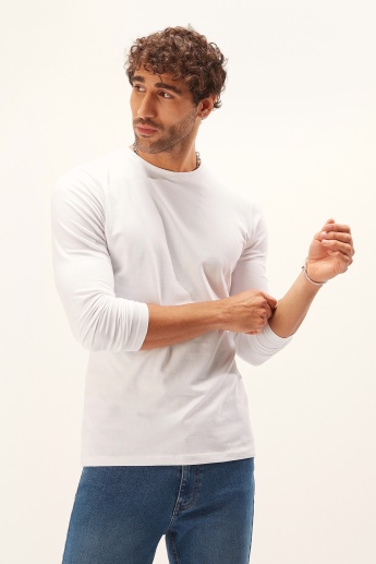 Plain T-shirt with Crew Neck and Long Sleeves