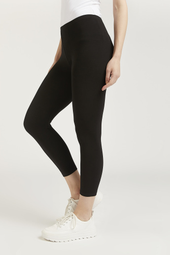 Skinny Fit Plain 3/4 Leggings with Elasticised Waistband