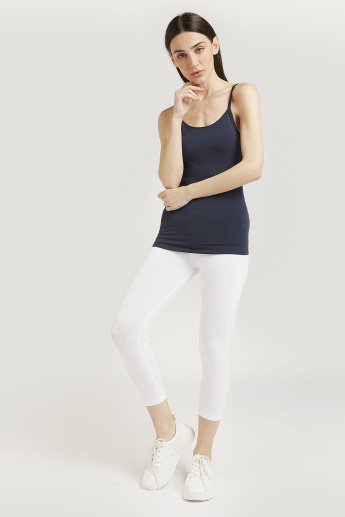 Skinny Fit Solid 3/4 Leggings with Elasticised Waistband