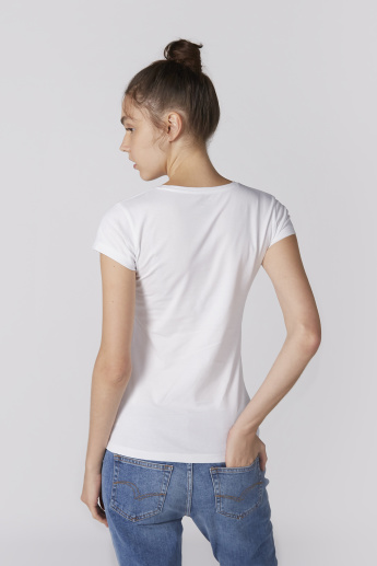 Cap Sleeves T-Shirt with Round Neck