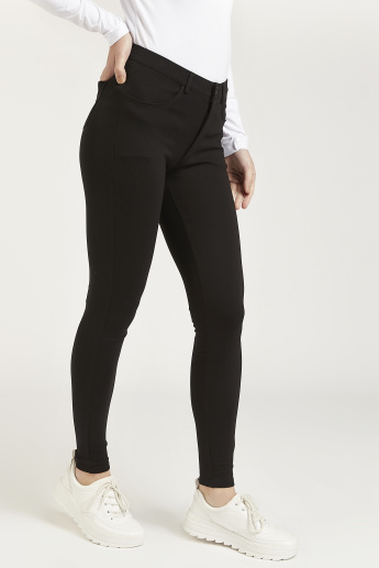 Full Length Solid Treggings with Pocket Detail and Belt Loops