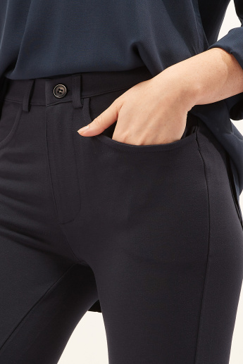 Full Length Treggings with Button Closure and Pocket Detail